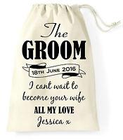 Personalised Wedding Day Gift Bag Groom Husband to be Present Vintage Sack