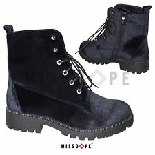 NEW VELVET BLACK BOOTS WOMENS ANKLE GOTH PUNK LACE UP BIKER CRUSHED SHOES LADIES