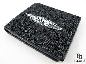 PELGIO Genuine Stingray Shagreen Skin Leather Bifold Credit Card ID Wallet Black