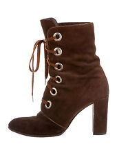 Marc Jacobs Brown Suede Lace-Up Ankle Granny Boots Corset Lace 38.5 US 8.5