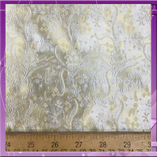100% SILK BROCADE FLOWER DESIGN 45 INCHES WIDE FABRIC GOLD SOLD BY THE YARD