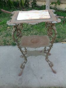 Vintage 19th Century Cast Iron Victorian Table 3 Tiers With Marble Top