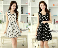 2015 new chiffon dress Korean Polka Dot sleeveless summer dress Slim skirt