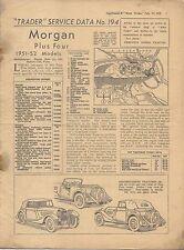 Morgan Más Cuatro Modelos 1951-52 datos de servicio de operador del motor Nº 194 1952