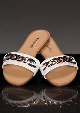 Scarpe donna ciabatte tacco basso sandali flat catena oro ciabattine fondo gomma