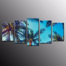 Wall Art Canvas Prints Picture Beautiful Beach Blue Sky and Palm Tree 5pcs