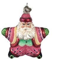 Vintage Old World Christmas Santa Star Ornament Glass with Mica 4 Inch