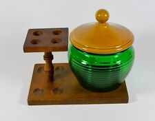 Vintage Walnut Wood Pipe Holder & National Green Ribbed Glass Tobacoo Jar w/ Lid