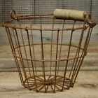 Primitive RUSTY WIRE EGG GATHERING BASKET Farmhouse Chicken Metal Country Bucket