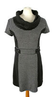 Izabel Size 12 Black Grey Short Sleeve Roll Neck Dress Tunic Knit Mod 60s Style