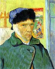 "Vincent Van Gogh *FRAMED* CANVAS ART green Self Portrait Bandaged Ear 16""X 12"""