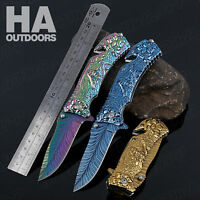 Outdoor Folding pocket RAINBOW Titanium Knives Camping Survival Tactical Hunting