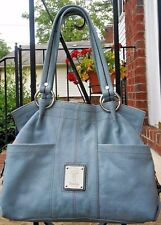 Tignanello Light Blue Genuine Leather Hobo Bag Satchel Shoulder Handbag GUC