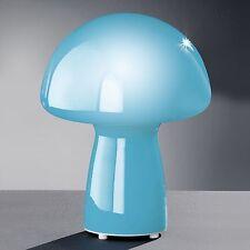 Cristal Lámpara de mesa Azul Hongo Decoración Cómoda Nador Honsel