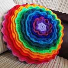 "Handmade Crochet Large 14"" Crochet Round Flower Petal Cushion BRIGHT Rainbow #2"