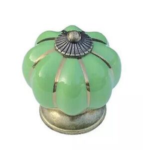 Bright Green Ceramic Cabinet Door Knob. Drawer Pulls. Vintage Pumpkin Style.