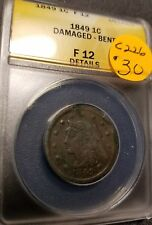 1849 Certified Braided Hair Large Cent, F12, C226