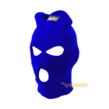 Royal Blue Ski Mask Beanie 3 Hole Knitted Cap Hat Warm Face Winter Snow Unisex