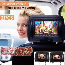 """2PCS Universal 7 """"Poggiatesta Auto DVD +lettore AV Monitor nero Trasmettitore CN"""