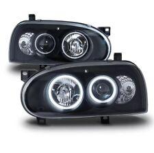 93-98 VW Golf MK3 Headlights Black Halo Projector Clear Lens 1993-1998 Headlamps