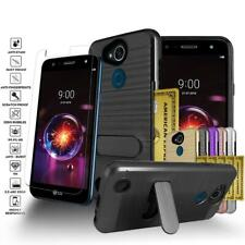 For LG X Power 3/X Power 2/LV7 Brushed Card Slot Kickstand Case+Screen Protector