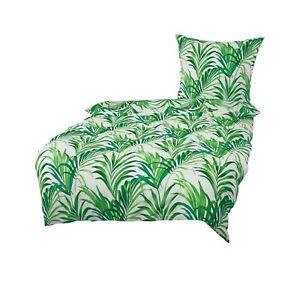 Bierbaum Baumwolle Seersucker Bettwäsche 135x200 Palmen Blätter grün 4tlg 1B