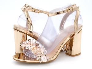 Yoki Womens 8.5 Alaina Rose Gold Crystals Buckle Ankle Strap Heel Sandals