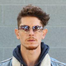 Mens Rimless Rectangular Minimal Metal Rim Fashion Sunglasses