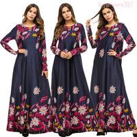 Women Muslim Ramadan Abaya Elegant Vintage Printed Long Maxi Dress Robe Islamic
