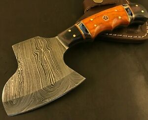 Handmade Damascus Steel Viking Axe-Camping-Outdoors-Leather Sheath-MD92