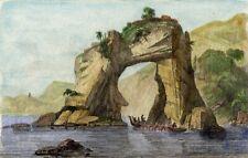 NEW ZEALAND: Natural arcade in the rock near Tolaga Bay - Antique color engrav