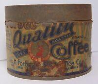 Rare TINY SAMPLE Vintage 1920s DEER GRAPHIC FORBES COFFEE TIN ST. LOUIS MISSOURI