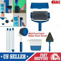 8pcs DIY Paint Roller Brush Handle Tool Home Room Wall Roll Paint Brush Kit M4S0