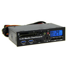 "Internal Card Reader USB 3.0 E-SATA SATA Port 5.25"" Media Dashboard Front Panel"