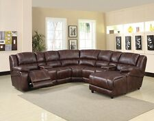 Brown Microfiber Home Theater 7pc Reclining Sectional Console Chaise Wedge