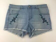 Romeo + Juliet Couture Embroidered Cutoff Light Denim Shorts Size M Medium(H376)