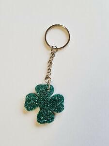 Glitter Acrylic Irish Shamrock Key Ring Keyring St Patricks Day Gift