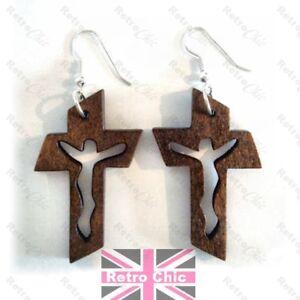 3cm WOODEN CROSS wood crucifix CUTOUT JESUS Christian EARRINGS/NECKLACE option