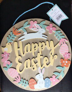 """EASTER WOODEN FRETWORK """"HAPPY EASTER"""" ROUND PLAQUE 25cm NEW"""