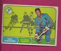1968-69 TOPPS # 117 BLUES GARY SABOURIN ROOKIE EX+ CARD (INV#3553)