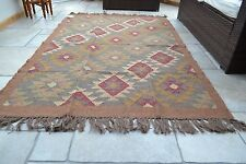 Large Kilim Rug Indian Hand Knotted Diamond Harlequin 240x180cm 8x6ft Jute Wool