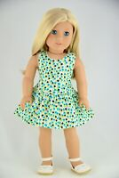 Bleu Black Flowers White Dress American Made Doll Clothes For 18 inch Girl Dolls