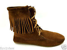 Minnetonka Moccasins Single Tier  Brown Fringed Tamper Boots Womens Size 7 US.