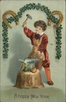 New Year Boy Blacksmith Forging Good Luck Charms c1910 Postcard