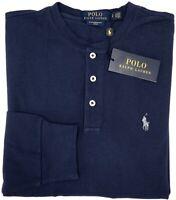 NEW $89 Polo Ralph Lauren Long Sleeve Blue Shirt Mens Henley Featherweight Mesh