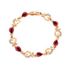 BID RED Women Gift Cubic Zirconia Inlaid Hollow Love Heart Bracelet Bangle