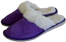 Womens Ladies Natural Suede Leather And Sheep's Wool Lining Slippers Mules