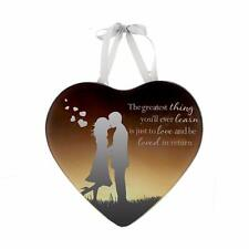 Greatest Gift is love - Heart Shaped Mirrored Hanging Plaque Love Gift 61408