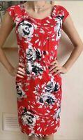 Beautiful L.K. Bennett Red Roses Dress Luxurious Cotton Uk 8 Pencil Wiggle