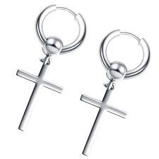 2pcs Men Women Stainless Steel Dangle Cross Hoop Earrings Religious Jewelry